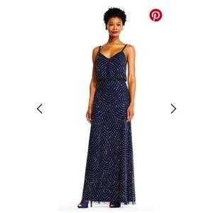 Adrianna Papell Navy Art Deco Blouson Beaded Gown